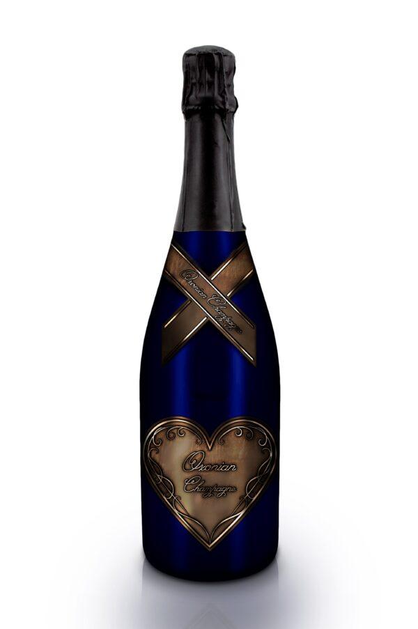 Champagne Bottle Blue_Brown Label a